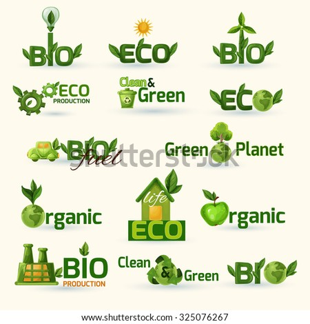 Green ecology and bio text with leafs badges set isolated  illustration