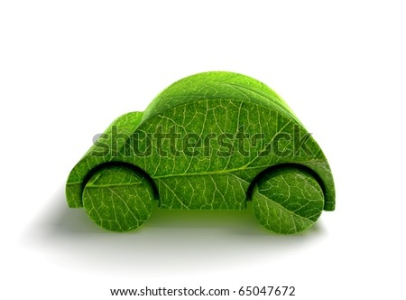 Green ecology car 3D render
