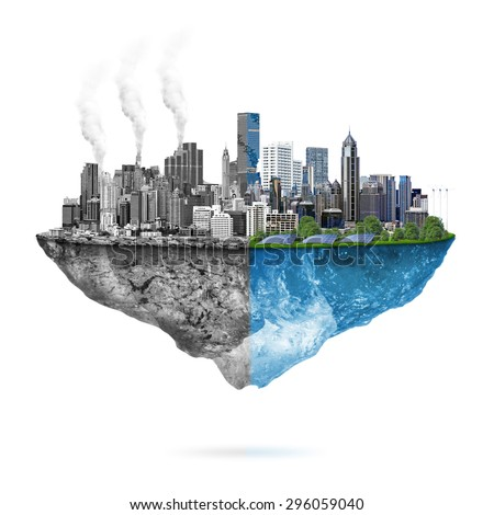 Green ecology city against pollution - sustainable development concept. - stock photo
