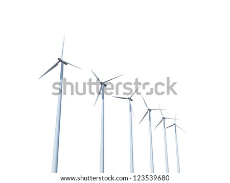 Green ecology concept, group of wind turbines, isolated on white background. - stock photo
