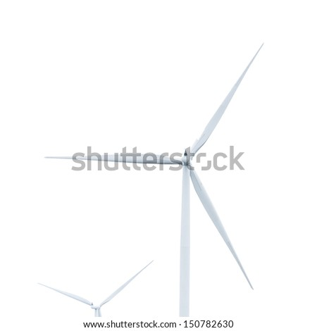 Green ecology concept of wind turbine isolated on white