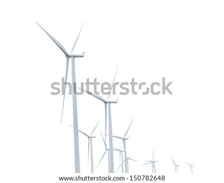 Green ecology concept of wind turbine isolated on white - stock photo