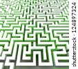 green ecology right pathway inside labyrinth illustration - stock photo