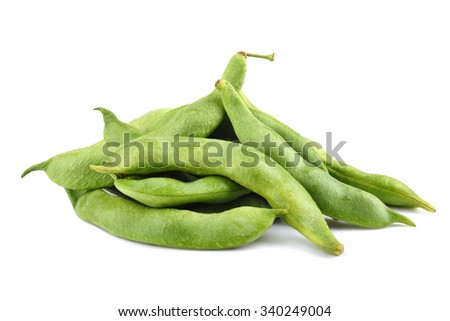 Green edamame soy beans on white background