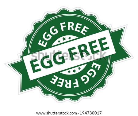 Green Egg Free Stamp, Label, Sticker, Icon or Badge Isolated on White Background