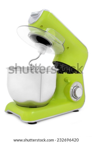 green electric mixer isolated on white background  - stock photo