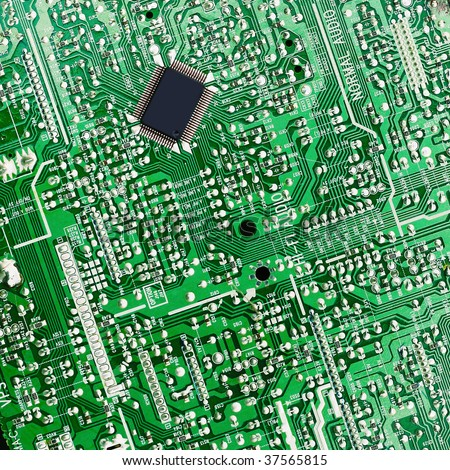 Green electronic board with chip