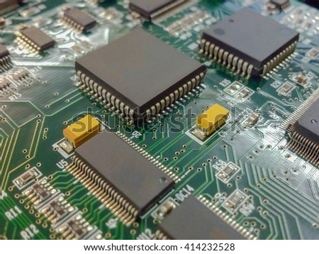 Green Electronic Board With Chip Sets - stock photo