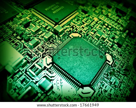Green electronic circuit close-up. Macro background 4