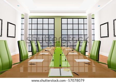 green elegant meeting room - rendering - the image on background is a my photo, new york - stock photo
