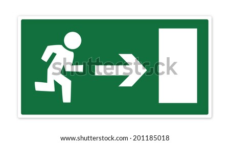 Green emergency exit sign with man running to door with arrow demonstrating direction. Isolated on a white background with clipping path. - stock photo