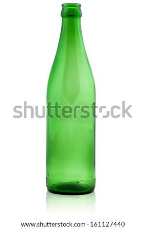 Green empty bottle  - stock photo