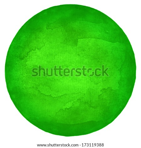 Green empty circle watercolor on white background. Image blank round shape form isolated of square format. Abstract colored aquarelle template backdrop created in handmade technique. - stock photo
