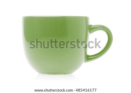 Green empty coffee cup isolated on white background