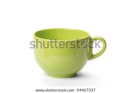 Green empty cup isolated on a white background