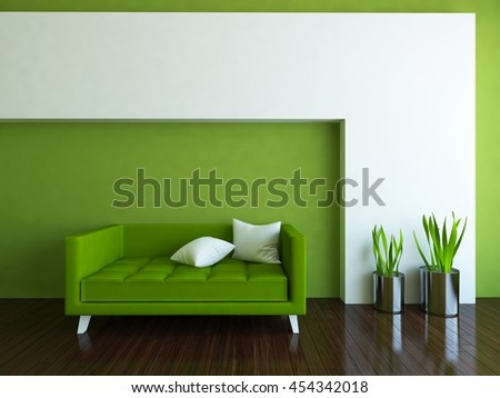 green empty interior with a green sofa. 3d illustration
