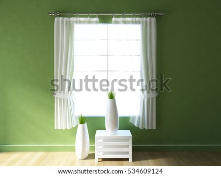 green empty interior with a white table curtains and vases scandinavian interior 3d