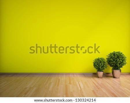 green empty interior with plants - stock photo