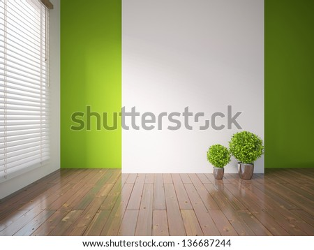 green empty interior with plants - stock photo