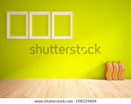 green empty interior with white frames and brown vases - stock photo