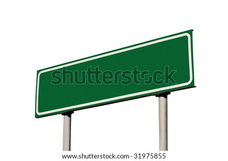 Green Empty Road Name Sign, Isolated, Large Detailed Roadside Signage, Blank Copy Space Background
