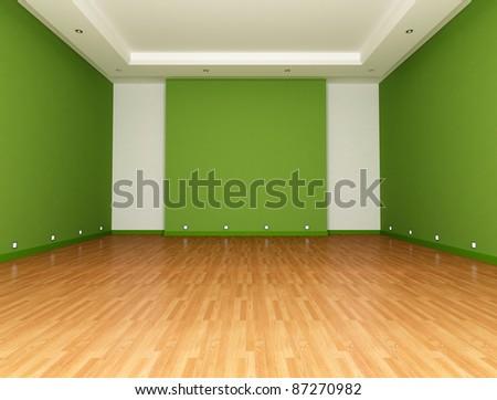 Green Empty room with parquet floor - rendering - stock photo
