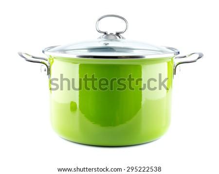 Green enamel pot with lid shot on white - stock photo