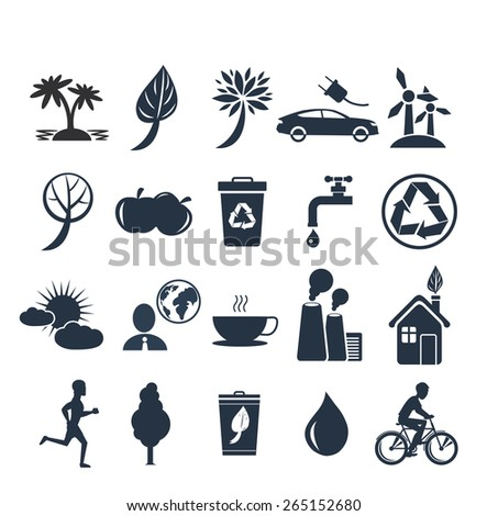 Green energy and ecology icon set in black color on white background. Raster version - stock photo