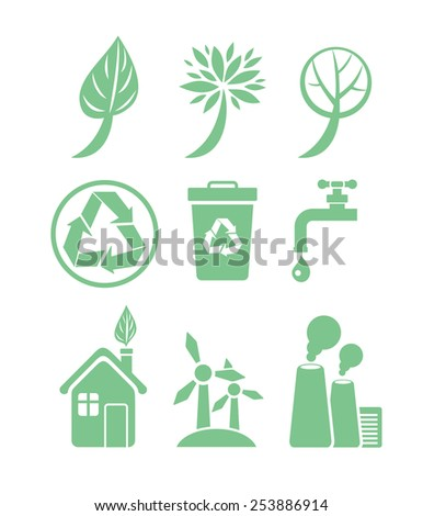 Green energy and ecology icon set in green color on white background. Raster version - stock photo