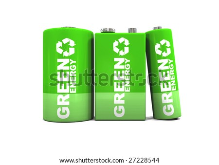 Green energy C, double A, and 9 volt batteries. - stock photo