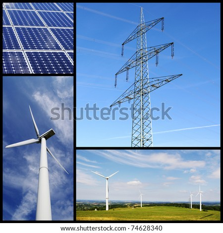 Green energy collage with solar panels, wind turbine and pylon. - stock photo