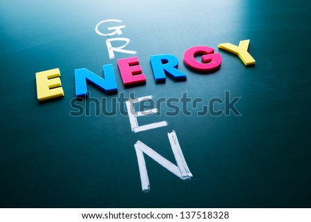 Green energy concept, colorful words on blackboard - stock photo