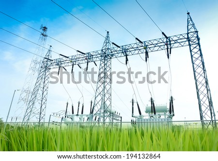 Green energy concept, Electricity station, Electricity plant landscape over blue sky - stock photo