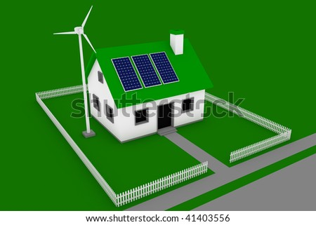 Green energy conceptual rendering of a house with a wind turbine and solar panels.
