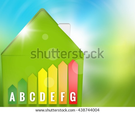Green Energy-efficient house nature background 3d render - stock photo