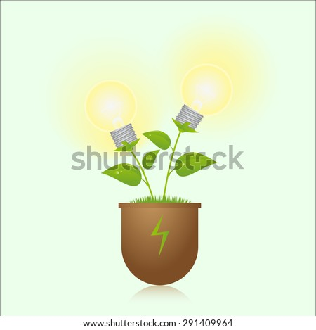 green energy lamps on the plant