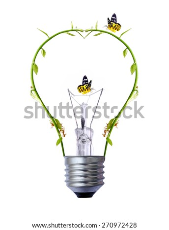 green energy light bulb and butterfly - stock photo