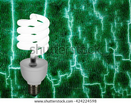 Green energy. New style light bulb on abstract background. - stock photo