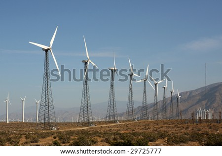 Green energy produced by wind turbines in the southern California desert