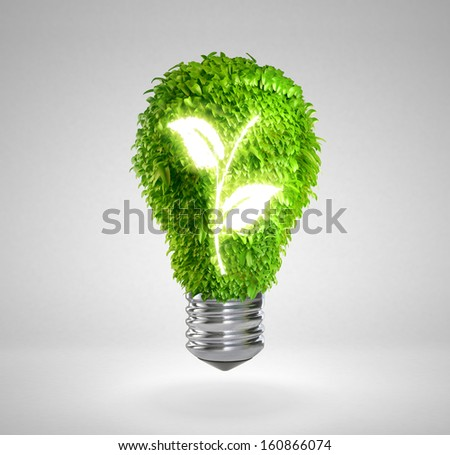 Green energy saving lamp concept - stock photo