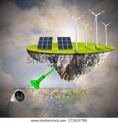 Green energy. Sustainable development and power and fuel generation. - stock photo
