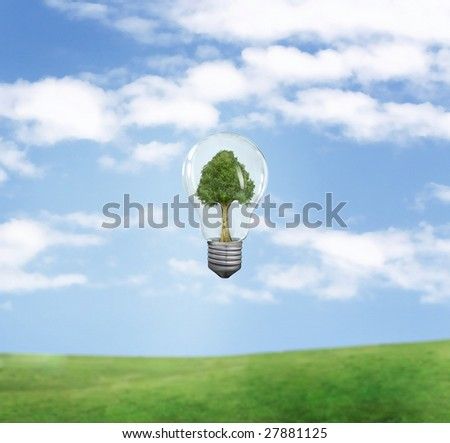 green energy symbol over blue sky