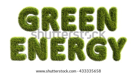 Green energy text covered with green grass isolated on white background. Green energy concept 3D illustration. - stock photo
