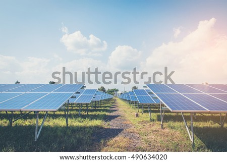 Green energy with solar panels in renewable power plant