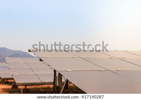 Green energy with solar panels outdoor
