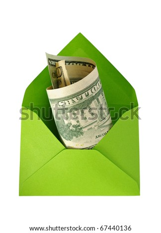 Green envelope with dollars isolated on the white surface with work paths. - stock photo