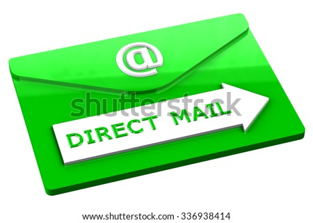 Green envelope with words direct mail, isolated on white background. - stock photo