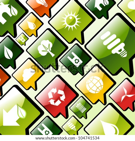 Green environment care apps icons set background. - stock photo