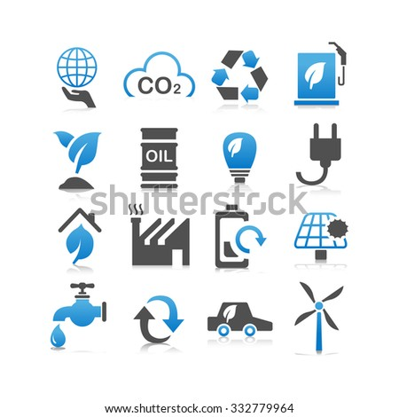 Green environment ECO and recycle concept icon set - Flat Series - stock photo