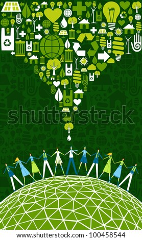 Green environment icons set splash over happy eco people globe. - stock photo